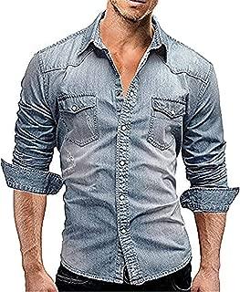 Men's Cowboy Casual Cotton Long Sleeve Denim Work Dress Shirt Jacket Slim Fit Shirts