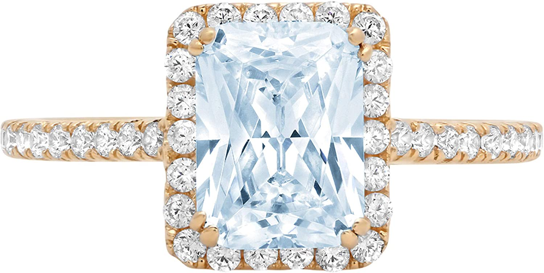 1.95ct Brilliant Emerald Cut Solitaire with Accent Halo Aquamarine Blue Simulated Diamond CZ VVS1 Designer Modern Statement Ring Solid 14k Yellow Gold Clara Pucci