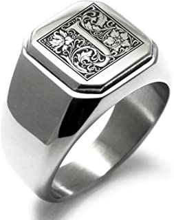 Stainless Steel Letter J Alphabet Initial Floral Box Monogram Square Flat Top Biker Style Polished Ring