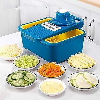 Coupe-légumes Dicer avec Récipient,Food Cutter Manuel Trancheur de Mandoline Cuisine Salade Cutter avec Garde de Main,Coup...