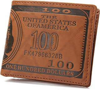 Slim Wallet for Men, OURBAG US $100 Dollar Bill Leather Bifold Card Holder Wallet Purse