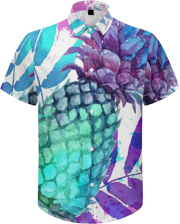 Men's Short Sleeve Button Down Shirt Watercolor Pineapple Summer Shirts