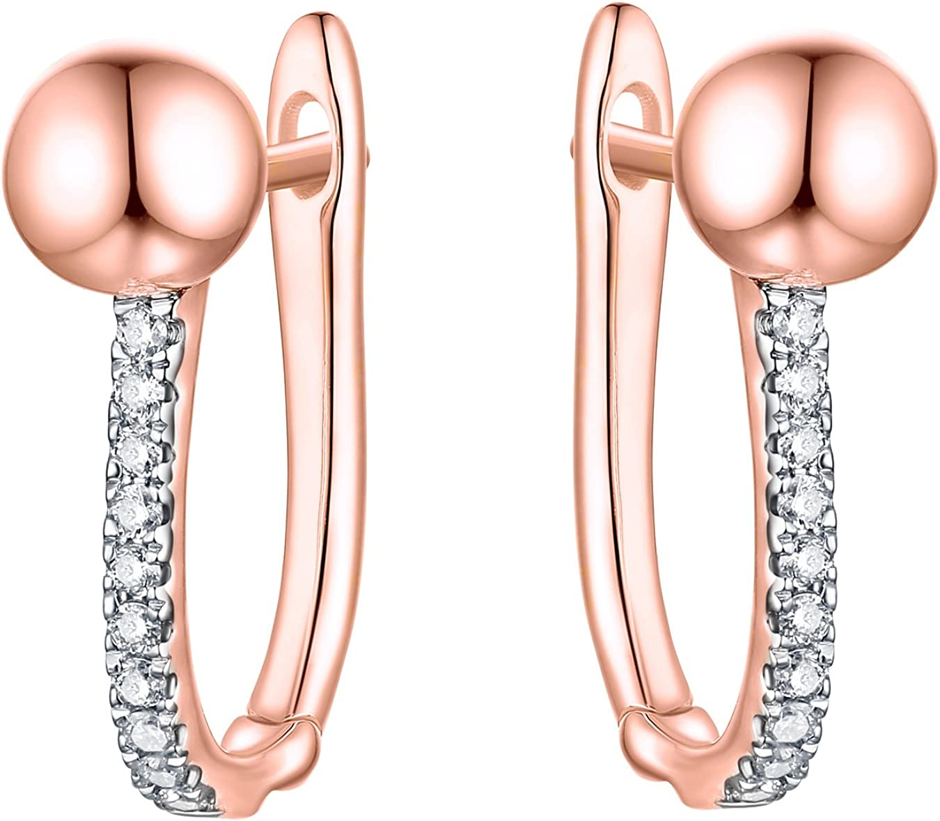 Prism Jewel 0.08Ct Natural G-H/I1 Diamond Hinge With Notched Post Ball Earrings Crafted In Solid Gold