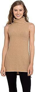 Womens Turtleneck Tunic Tank Top - Sleeveless Ribbed Sweater