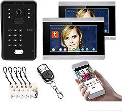 Tuya Wifi Video Deurbel, 7 Inch Video Deurtelefoon Systeem, Intercom, Nachtzicht Camera + 2 Monitor, Wachtwoord Remote APP...