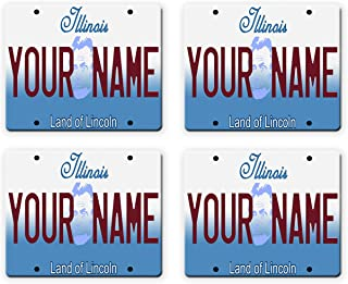 BleuReign(TM) Personalized Custom Name Illinois State License Plate Set of 4 Square Coasters
