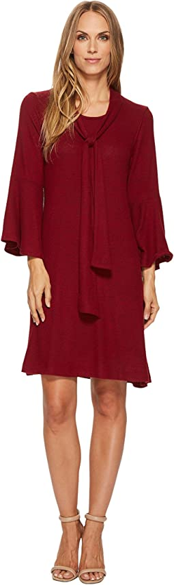 Tie Front Neck Ruffle Sleeve Dress