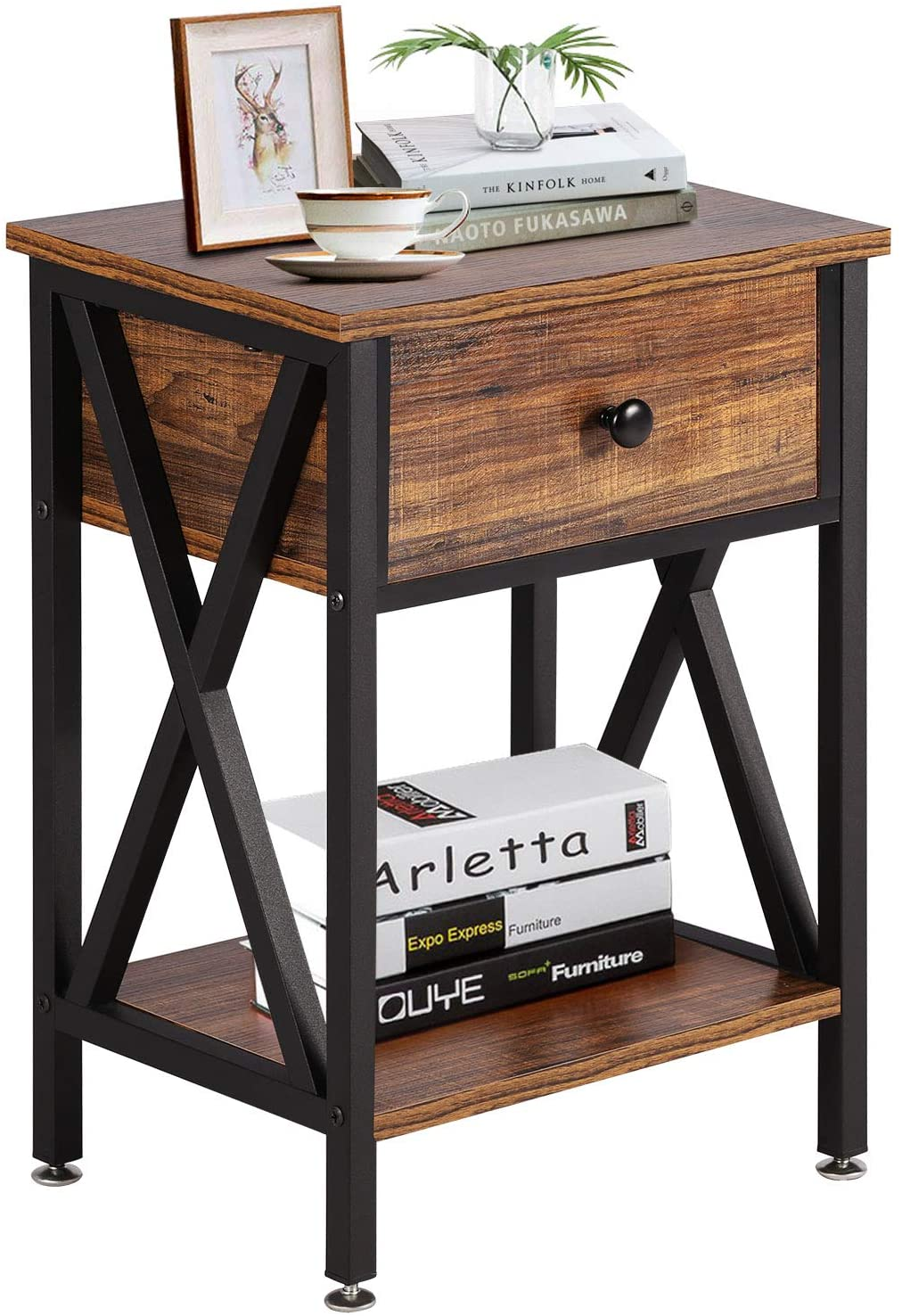VECELO Modern Versatile Nightstands X-Design Side Nigh Table End NEW before Max 41% OFF selling ☆