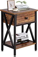 VECELO Modern Versatile Engineered Wood X-Design Side End Night Stand Table Storage Shelf with Bin Drawer (Brown and Black)