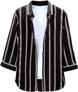 [ラッキーチャーム] 7分袖 薄手 ストライプ カジュアルシャツ 耐摩耗 吸汗透湿素材 メンズ