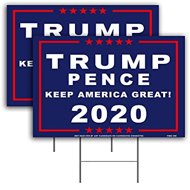 """VIBE INK President Donald Trump - Keep America Great! 2020 Pence - MAGA - Yard Sign Lawn Signage (18"""" x 12"""") with 15-inch Heavy Duty Metal Wire Stake Stand (2)"""