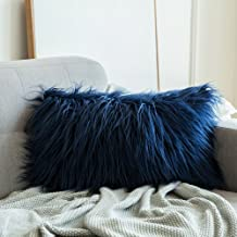 MIULEE Decorative New Luxury Series Style Dark Blue Faux Fur Throw Pillow Case Cushion Cover for Sofa Bedroom Car 12 x 20 Inch 30 x 50 cm