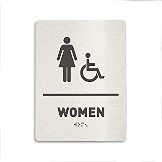 Women Restroom Identification Sign - Wheelchair Accessible, ADA Compliant Bathroom Sign, Raised Icons, Raised Braille, Brushed Aluminum, TCO Inspection Certified - by GDS