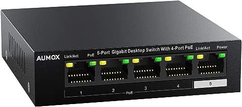 Aumox 5 Port Gigabit Ethernet PoE Switch, 4 Port PoE 58W, Unmanaged, Durable Metal Casing, Desktop,Traffic Optimization, Fanless, Plug and Play (SG105POE)