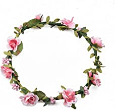 Every Fairy Flower Crown Women Flower Hair Accessories for Girl Wreath Floral Headwear Ladies Bridesmaid Headband,Pink