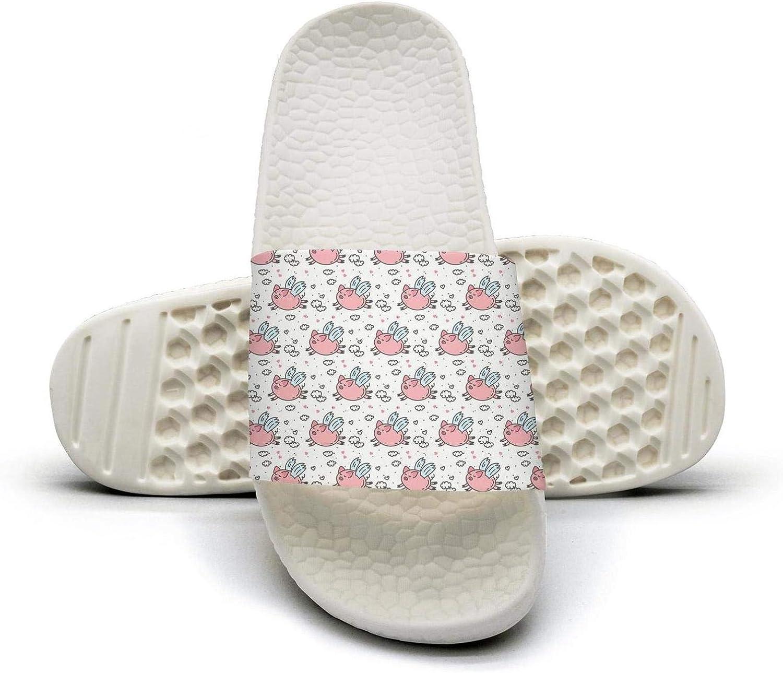 Women Cute Flying Pig Humor Slip on Beach Sandals and Anti-Slip Shower Slipper Comfort Sandals