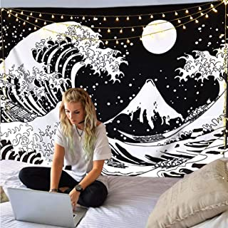 """Cestbin Japanese Ocean Wave Tapestry,Kanagawa The Great Wave Tapestry with Moon Tapestries,Large Sun Black and White Tapestry for Living Room Bedroom Dorm (Great Wave, 59.1"""" x 78.8"""")"""