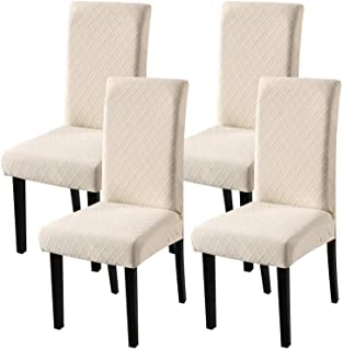 Fuloon 4 Pack Super Fit Stretch Removable Washable Short Dining Chair Protector Cover Seat Slipcover for Hotel,Dining Room...