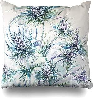 Ahawoso Throw Pillow Cover Square 16x16 Inches Scottish Blue Thistles Decorative Pillow Case Home Decor Pillowcase