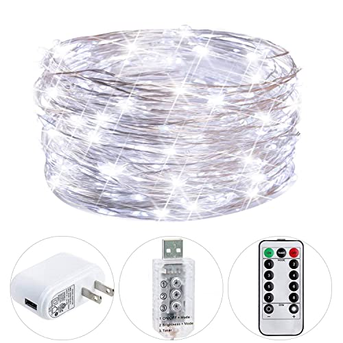 HSicily String Lights for Bedroom, Fairy Lights USB Plug in with Adapter Remote, 33ft