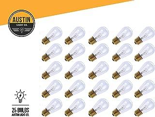 Pack of 25 - S14 11 Watt Glass Light Bulbs – Clear Glass– By Austin Light Co. – Warm Incandescent Replacement Bulbs. Idea for Austin Light Co String Lights. Fits E27 & 26 Base.
