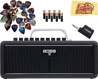 Boss Katana Air Guitar Amplifier Bundle with Batteries, 24 Picks, and Austin Bazaar Polishing Cloth