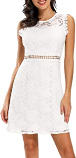 Women's Elegant Floral Lace Sleeveless Wedding Guest Cocktail Party A-line Short Dress 973