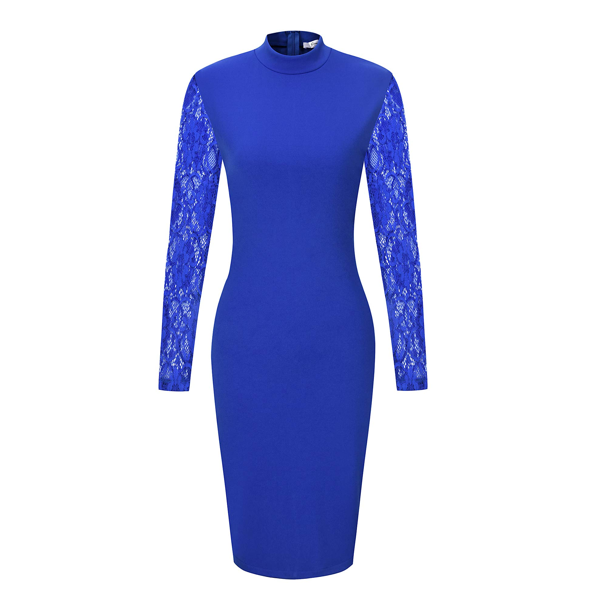 Available at Amazon: GENSHUO Women's Dresses Sexy Bodycon Long Sleeves Lace Design Crew Neck Above Knee Casual Party Cocktail Dress