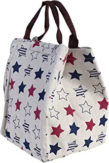 Tinksky Waterproof Canvas Lunch Bag Container Insulation Lunch Box Tote Bag Organizer Holder for School Work Outdoor Activities (Five-Point Stars)