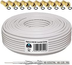 HB-Digital - Cable coaxial para DVB-S, S2 DVB-C y DVB-T(130 dB, HQ-135, Pro, apantallamiento cuádruple, BK, 10 Conectores F Dorados) 25 m