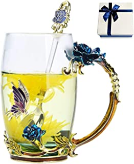 Floral Glass Coffee Mug Tea Cup with Spoon Gift Box Birthday Valentines Day Gift (BLUE ROSE HIGH)
