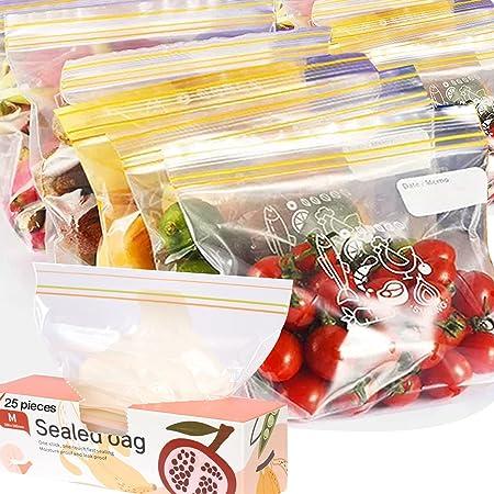 FYY 25 Sacchetti per Alimenti Richiudibili,Sacchetti Freezer,Fondo Espandibile,Durevoli,Sacchetti cerniera Sacchetti per conservazione per congelatore per snack,frutta,verdura,viaggi,carne18x20cm(M)