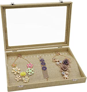 Wuligirl 20 Hooks Clear Lid Linen Jewelry Tray Showcase Display Storage Necklace Organizer Case(Necklace Box)
