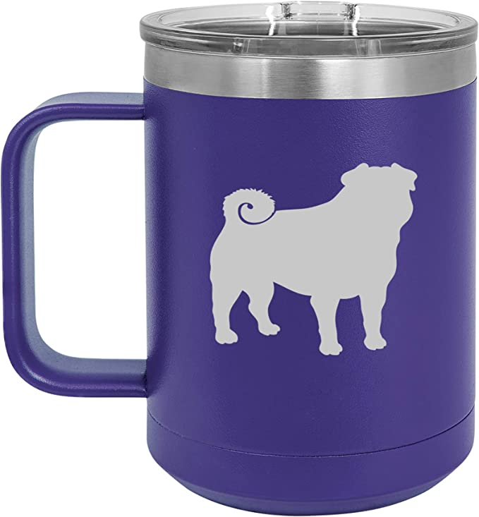 15 Oz Tumbler Coffee Mug Travel Cup With Handle Lid Vacuum Insulated Stainless Steel Pug Purple Kitchen Dining