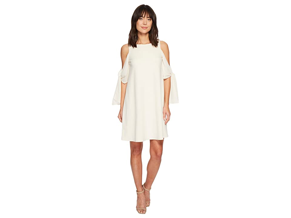 Taylor Cold Shoulder Elbow Tie 3/4 Sleeve Shift Dress (White) Women