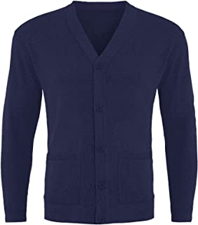 GA COMMUNICATIONS Mens Plain Button UP Cardigan Knitwear Classic Granddad Front Pockets Knitted TOP[Navy,3XL]