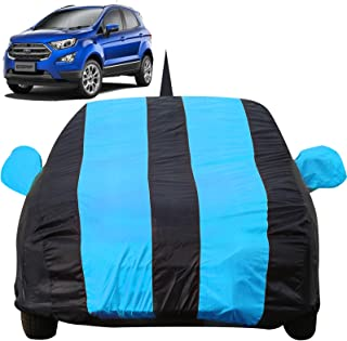 Autofact Car Body Cover for Ford Ecosport with Mirror and Antenna Pocket (Light Weight, Triple Stitched, Heavy Buckle, Bottom Fully Elastic, Teak Blue Stripes with Navy Blue Color)