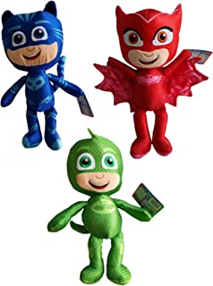 Play by Play - PJ Masks Conjunto Completo 3 Felpa Plush 35cm - Gatuno Buhíta Gecko - 100% Original y Oficial Héroes en Pijamas Catboy Owlette Gekko