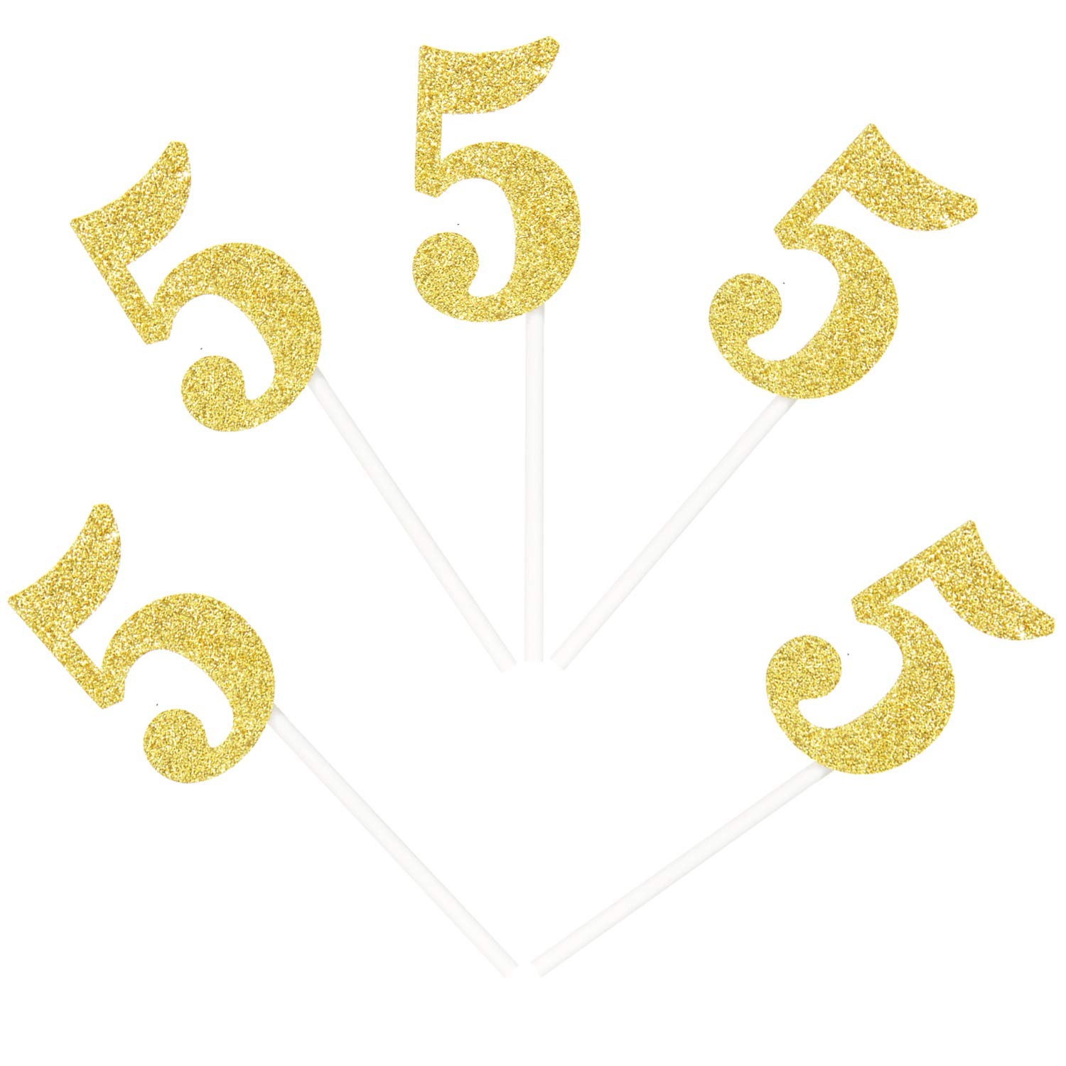 Ercadio Number 5 Cupcake Daily bargain sale Toppers Gold Glitter Cupca 5th Birthday National uniform free shipping