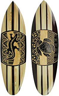 Chesapeake Bay Ltd Set of 2 Hand Carved Wood Surfboards Tiki Decor Lizard Turtle Wall Hanging Art