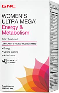 GNC Womens Ultra Mega Energy and Metabolism Multivitamin for Women, 180 Count, for Increased Energy, Metablism, and Calori...