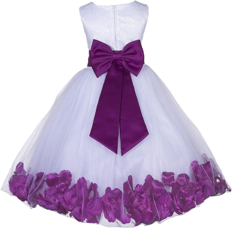 ekidsbridal Lace Floral Petals White Flower Girl Dresses Special Occasion Dresses Junior Dresses Toddler Dresses 165T
