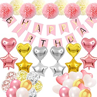 acetek Birthday Decorations, Ballons Party Décor for Her/Girl/Women with Pink Happy Birthday Banner, Star/Heart Shape Ball...