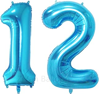 ZiYan 40inch Blue Number 12 Balloon Party Festival Decorations Birthday Anniversary Jumbo foil Helium Balloons Party Supplies use Them as Props for Photos