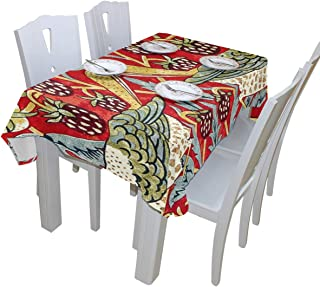 WOOR William Morris Tablecloth Polyester for Birthday Party Wedding Holiday Kitchen Dining Room Table Covers Decoration Table Cloth Rectangle/Oblong 60x120 Inch