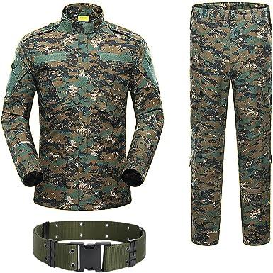 H World Shopping Militar táctico para hombre caza combate BDU uniforme camisa y pantalones con cinturón Woodland Digital AOR2
