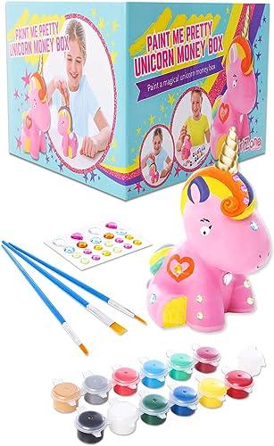 GirlZone Cadeau Fille -Tirelire Licorne à Peindre Soi-Même - Kit de Peinture Complet pour Fille avec Pinceaux, Peintu...