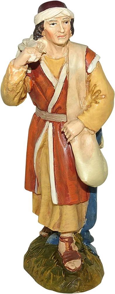 Ferrari & arrighetti statuina per presepe: pastore viandante linea martino landi 10 cm 2410NA08