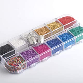 12 Colors 1Box Micro Ball Micro Crystal Nail Caviar Beads Glass Trend Caviar Nail Art Decorations Tips Nail Art Set