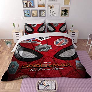 EVDAY 3D Spider Man Duvet Cover Set for Boys Bed Set Super Soft Microfiber Hero Design Kids Bedding 3Piece Including 1Duvet Cover,2Pillowcases Queen Size
